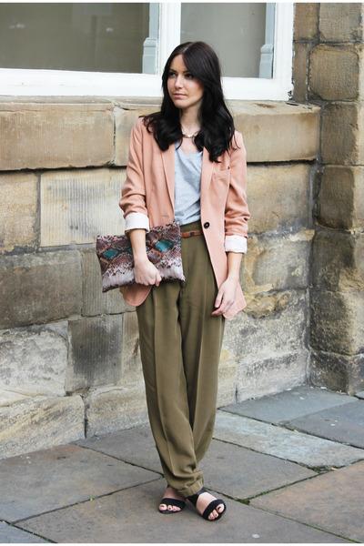 light orange H&M blazer - Zara bag - menswear Zara t-shirt - black Zara sandals