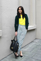 aquamarine H&M pants - Mulberry bag - yellow H&M t-shirt - H&M necklace