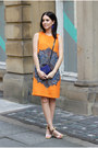 Orange-zara-dress-blue-mulberry-bag-h-m-earrings-missoni-heels