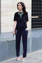 forest green Zara necklace - silver Kurt Geiger bag - navy H&M Trend pants