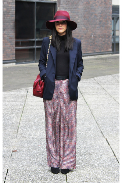 Zara pants - maroon Topshop hat - navy Zara blazer - Mulberry bag