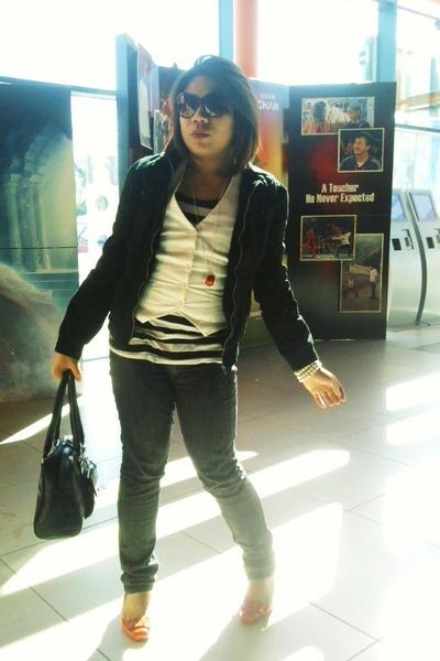 black Dorothy Perkins jacket - white H&M vest - Primark blouse - red Newlook sho