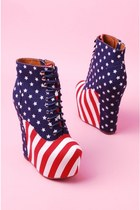 Jeffrey Campbell Damsel Lace Up Platform Bootie Wedge in Stars and Stripes