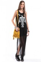 Thunderbird Chiffon Contrast Dress with Hidden Wedge Spiked Sneakers