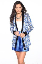dark khaki Reverse cardigan - blue MinkPink skirt