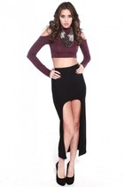 High Low Bodycon Maxi Skirt with Open Shoulder Crop Long Sleeve Top