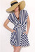 navy v-neck striped Motel dress - tan floppy brim Shopakiracom hat