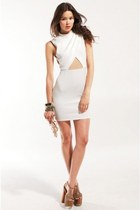 Cross Front Mesh and Knit Dress in White