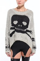 heather gray Akira sweater - black pleather garter Akira leggings