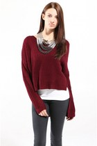 Crop Front V-Neck Sweater with Multi Textured Chain Necklace