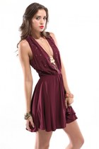 crimson For Love & Lemons dress - Akira accessories
