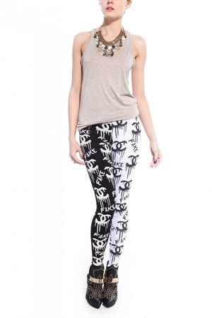 white Akira leggings - heather gray Akira t-shirt - black Jeffrey Campbell heels