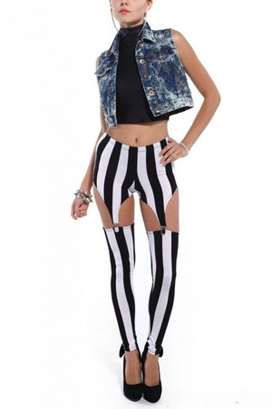 white striped garter Akira leggings - black Akira top - blue Akira vest
