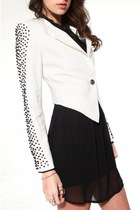 white Akira blazer - black keepsake dress