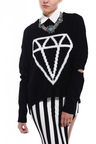 black Akira sweater - white Akira skirt - turquoise blue Akira necklace
