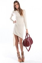 Glitter Knit Asymmetrical Sweater Dress with Heels & Burgundy Purse