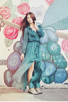 Teal Silk Shirt Dress