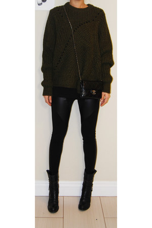 Isabel Marant sweatshirt - BCBG boots - Faxu leather patched leggings leggings