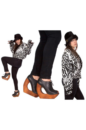 rockin Jeffrey Campbell wedges - La Vienne hat