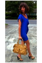 bronze bag fourteen Torregrossa bag - blue silk Bianca Coletti dress