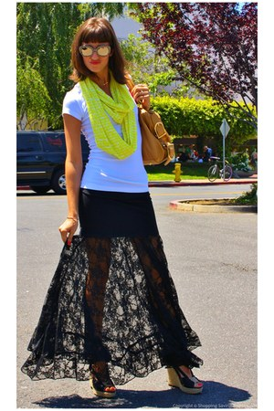 black lace maxi Gypsy05 skirt - yellow infinity Velvet by Graham & Spencer scarf