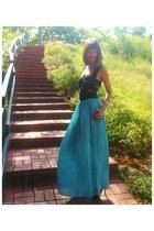 black Sena top - teal Sena skirt - silver platforms brian atwood heels