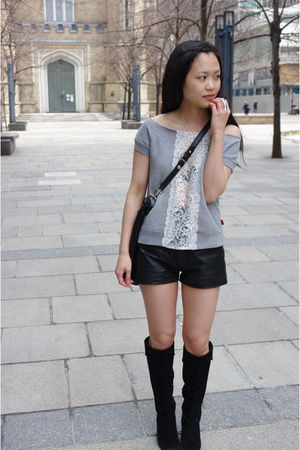 DIY shirt - vintage shorts - Marc by Marc Jacobs purse - town shoes boots - Pres