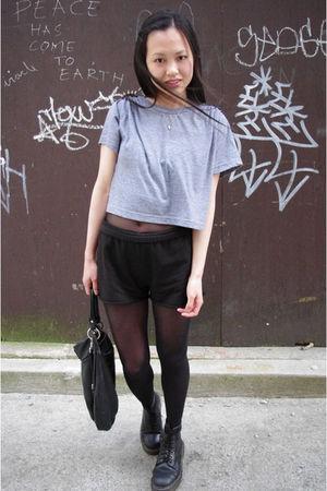 DIY American Apparel shirt - Aritzia shorts - Wolford tights - vintage Docs shoe