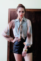 leather vintage shorts - ascot pastels vintage blouse