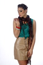 dark khaki leather vintage skirt