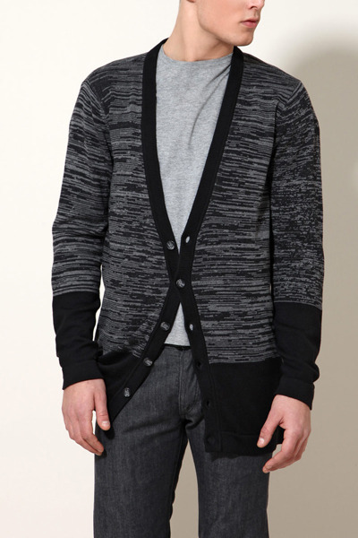 black knit WESC cardigan