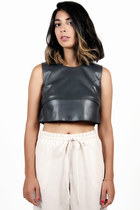 Tiered Leather Crop Top