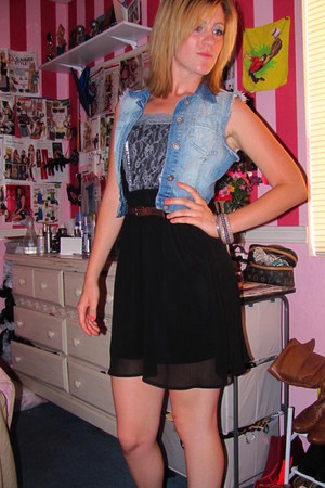 black Target dress - dark brown H&M belt - sky blue Dillards vest