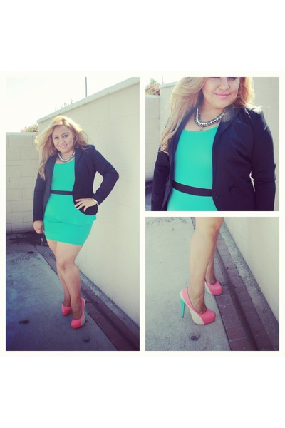 mint peplum fancy steps dress - black H&M blazer