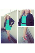 mint peplum fancy steps dress - black H&M blazer