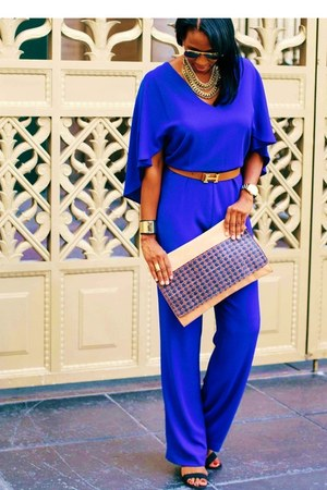 blue jumpsuit Zara jumper - salmon large clutch All Saints bag