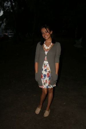 green pull&bear cardigan - Zara dress - beige Dione shoes - white Fou Fou Chat n
