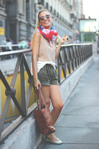 Zara bag - Ebay scarf - Bershka shorts - Zara flats - Forever 21 top