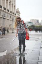 Hunter boots - kling coat - True Religion jeans - Primark sweater - Zara bag