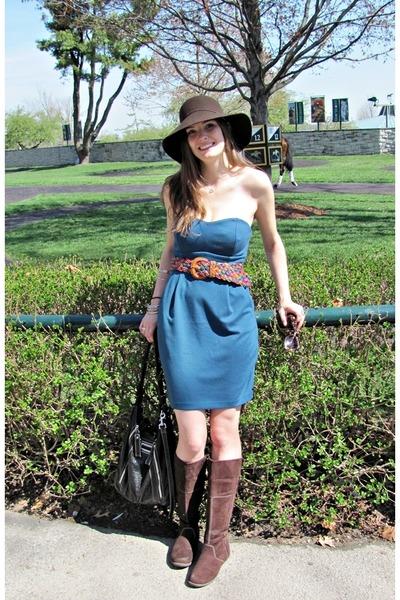 brown Route 66 hat - blue LC Lauren Conrad dress - brown Airwalk boots -