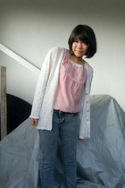 pink Mums blouse - white thrifted cardigan - gray jeans