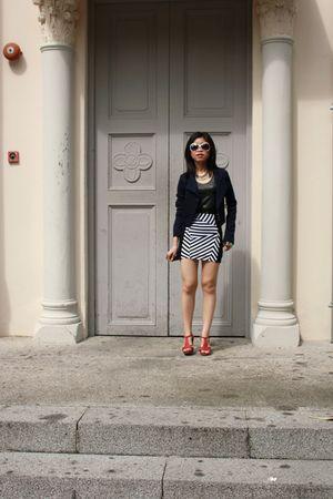 gmarket blazer - gray kisslocke top - black asos skirt - Forever 21 asos accesso
