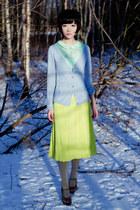blouse - skirt - wedges - cardigan