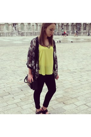 black Primark jeans - black Primark bag - yellow Dorothy Perkins vest