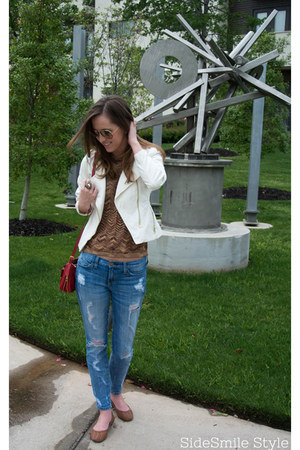 moto jacket H&M jacket - distressed Current Elliot jeans
