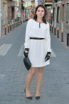 black Vintage costume bag - white Zara dress - black leather Zara gloves