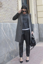 black baggy leather Mango pants - gray Zara coat - black Zara bag