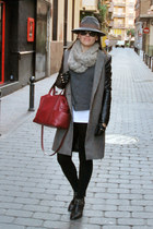 gray DAY A DAY hat - black studs Zara boots - black Zara coat