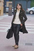 Mango pants - Zara coat - H&M sweater - animal print Zara bag