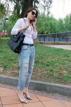 sky blue ripped Zara jeans - white Zara shirt - black Zara bag